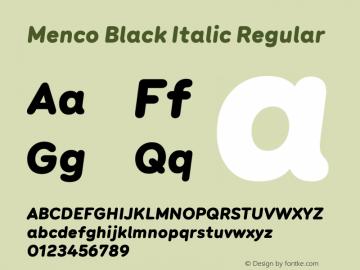 Menco Black Italic W00 Black Italic Version 1.00图片样张
