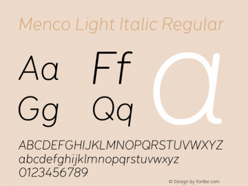 Menco Light Italic W00 Light Italic Version 1.00图片样张