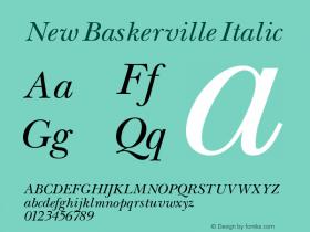 New Baskerville Italic 001.000 Font Sample