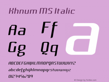 Khnum MS Italic Version 1.0图片样张
