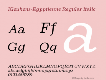Kleukens-EgyptienneRegularItali Protected webfont for CSS @font-face use ONLY图片样张