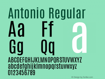 Antonio Regular Version 1 ; ttfautohint (v0. Font Sample