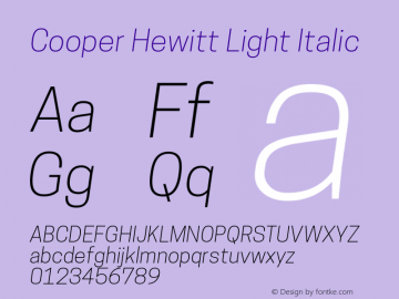 CooperHewitt-LightItalic 1.000图片样张