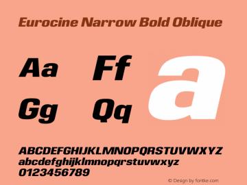 Eurocine Narrow Bold Oblique Version 1.000图片样张