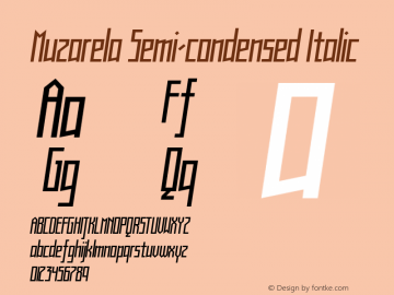 Muzarela-SemicondensedItalic Version 1.000图片样张