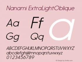 Nanami-ExtraLightOblique Version 1.000图片样张