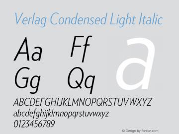 VerlagCondensed-LightItalic Version 001.001图片样张