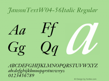Janson Text W04 56 Italic Version 1.00图片样张