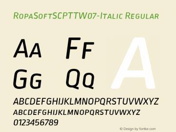 Ropa Soft SC PTT W07 Italic Version 1.10图片样张