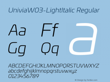 Univia W03 Light Italic Version 1.00图片样张