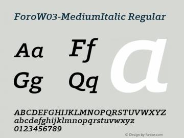 Foro W03 Medium Italic Version 1.00图片样张