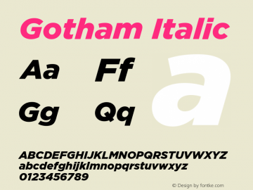 Gotham-BlackItalic Version 1.000;PS 001.000;hotconv 1.0.38图片样张