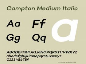Campton Medium Italic Version 1.000;PS 001.000;hotconv 1.0.70;makeotf.lib2.5.58329图片样张
