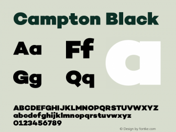 Campton Black Version 1.000;PS 001.000;hotconv 1.0.70;makeotf.lib2.5.58329图片样张