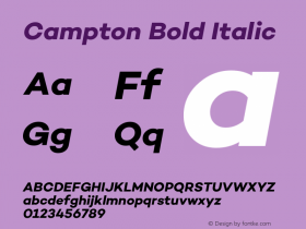 Campton Bold Italic Version 1.000;PS 001.000;hotconv 1.0.70;makeotf.lib2.5.58329图片样张