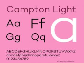 Campton Light Version 1.000;PS 001.000;hotconv 1.0.70;makeotf.lib2.5.58329图片样张
