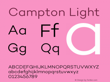 Campton Light Version 1.000;PS 001.000;hotconv 1.0.70;makeotf.lib2.5.58329图片样张