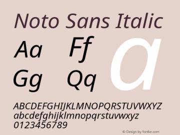 Noto Sans Italic Version 2.001; ttfautohint (v1.8.2)图片样张