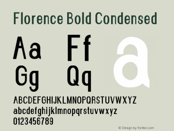 Florence-BoldCondensed Version 1.020;Fontself Maker 3.0.2图片样张