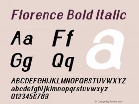 Florence-BoldItalic Version 1.020;Fontself Maker 3.0.2图片样张