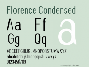 Florence-Condensed Version 1.020;Fontself Maker 3.0.2图片样张