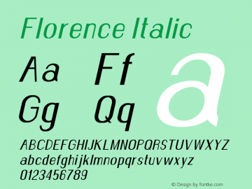 Florence-Italic Version 1.020;Fontself Maker 3.0.2图片样张