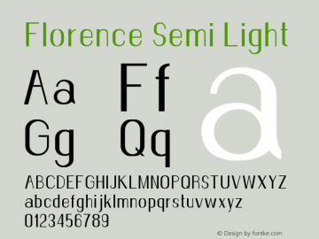 Florence-SemiLight Version 1.020;Fontself Maker 3.0.2图片样张