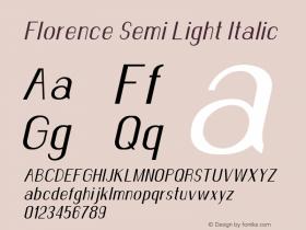 Florence-SemiLightItalic Version 1.020;Fontself Maker 3.0.2图片样张
