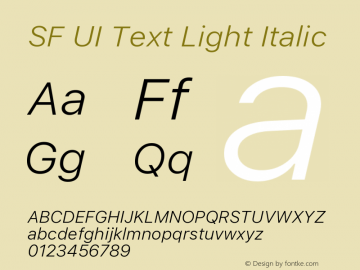 SF UI Text Light Italic 11.0d45e1--BETA图片样张