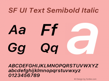 SF UI Text Semibold Italic 11.0d45e1--BETA图片样张