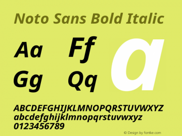 Noto Sans Bold Italic Version 2.001图片样张