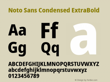 Noto Sans Condensed ExtraBold Version 2.001; ttfautohint (v1.8.2)图片样张