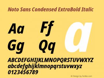 Noto Sans Condensed ExtraBold Italic Version 2.001; ttfautohint (v1.8.2)图片样张