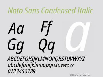 Noto Sans Condensed Italic Version 2.001; ttfautohint (v1.8.2)图片样张