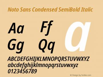 Noto Sans Condensed SemiBold Italic Version 2.001; ttfautohint (v1.8.2)图片样张