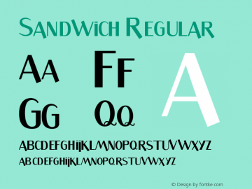 Sandwich Regular 1.0 Font Sample