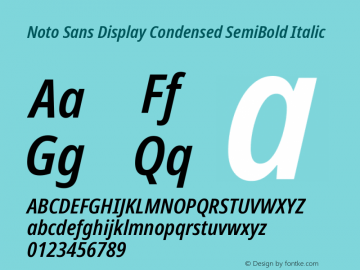 Noto Sans Display Condensed SemiBold Italic Version 2.001; ttfautohint (v1.8.2)图片样张