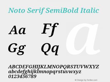 Noto Serif SemiBold Italic Version 2.001; ttfautohint (v1.8.2)图片样张
