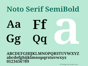 Noto Serif SemiBold Version 2.001图片样张