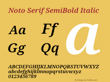 Noto Serif SemiBold Italic Version 2.001图片样张