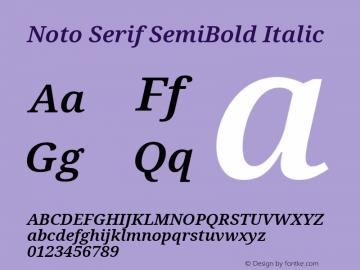 Noto Serif SemiBold Italic Version 2.001;GOOG;noto-source:20181019:f8f3770;ttfautohint (v1.8.2)图片样张