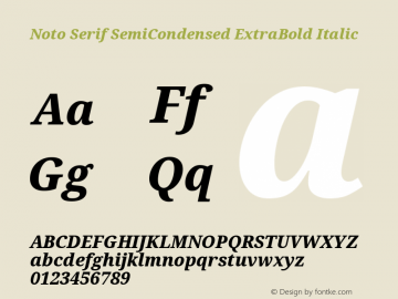 Noto Serif SemiCondensed ExtraBold Italic Version 2.001图片样张