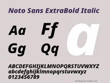 Noto Sans ExtraBold Italic Version 2.001; ttfautohint (v1.8.2)图片样张