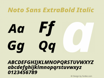 Noto Sans ExtraBold Italic Version 2.001图片样张