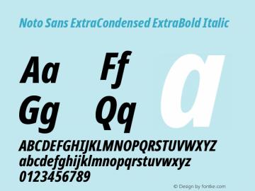Noto Sans ExtraCondensed ExtraBold Italic Version 2.001; ttfautohint (v1.8.2)图片样张