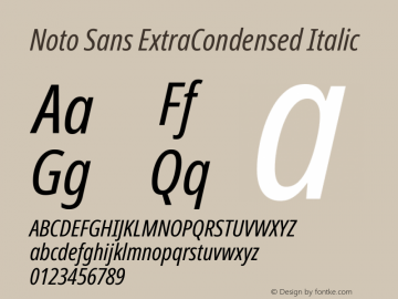 Noto Sans ExtraCondensed Italic Version 2.001图片样张