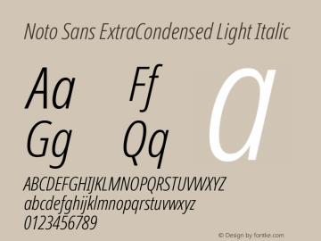 Noto Sans ExtraCondensed Light Italic Version 2.001; ttfautohint (v1.8.2)图片样张