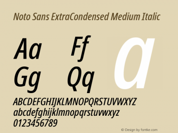 Noto Sans ExtraCondensed Medium Italic Version 2.001; ttfautohint (v1.8.2)图片样张