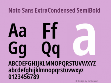 Noto Sans ExtraCondensed SemiBold Version 2.001;GOOG;noto-source:20181019:f8f3770;ttfautohint (v1.8.2)图片样张