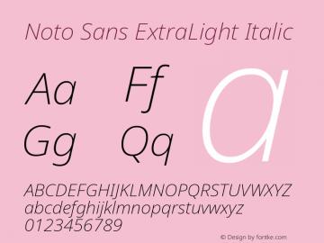 Noto Sans ExtraLight Italic Version 2.001; ttfautohint (v1.8.2)图片样张